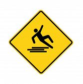 pic of slip hazard  - Yellow road sign with slipping man with path - JPG