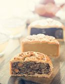 stock photo of mid autumn  - The Chinese words on the mooncakes means assorted fruits nuts - JPG