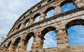 stock photo of arena  - Ancient Roman Amphitheater in Pula - JPG