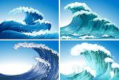 foto of rough-water  - Illustration of different waves - JPG