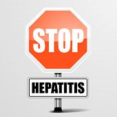 pic of hepatitis  - detailed illustration of a red stop hepatitis sign - JPG