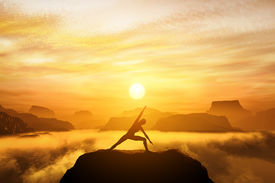 picture of breathing exercise  - Woman standing in side angle yoga position - JPG