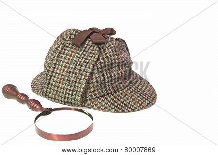 Deerstalker Hat And Retro Magnifying