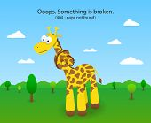 image of not found  - 404 error page with knotted giraffe - JPG
