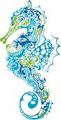 foto of seahorses  - Illustration of Abstract Sea Horse Hippocampus in blue and green - JPG