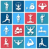 stock photo of rutin  - Bodybuilding gym fitness and power lifting icons set isolated vector illustration - JPG