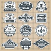 pic of barbershop  - Retro emblems set with food drinks barbershop and woodworks sticker isolated vector illustration - JPG