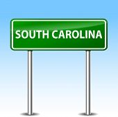 pic of south-pole  - illustration of south carolina green metal road sign - JPG