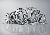 image of ball bearing  - Set of steel ball bearings in closeup - JPG