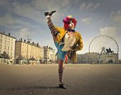 foto of clowns  - A clown in the square  - JPG