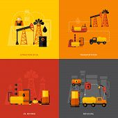 pic of oil can  - Oil industry design concept set with extraction transportation refining refueling flat icons isolated vector illustration - JPG
