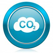 foto of carbon-dioxide  - carbon dioxide blue icon co2 sign  - JPG
