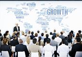 stock photo of speaker  - Business People Meeting Leader Speaker Growth Concept - JPG