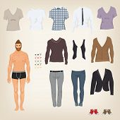 stock photo of doll  - Vector hipster dress up doll with an assortment of hipster clothes - JPG