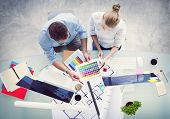 picture of workstation  - Brainstorming Planning Partnership Strategy Workstation Business Adminstratation Concept - JPG