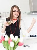 stock photo of ordinary woman  - Business woman drinking tea getting ready for work - JPG