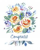 foto of congrats  - Vector greeting card bouquet of flowers - JPG