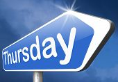 picture of thursday  - thursday next day schedule concept for appointment or event in agenda  - JPG