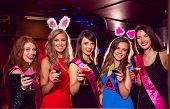 picture of hen party  - Pretty friends on a hen night at the nightclub - JPG