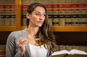 pic of laws-of-attraction  - Pretty lawyer reading in the law library at the university - JPG