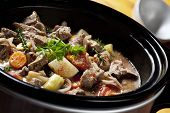 stock photo of stew pot  - Beef Stew in a slow - JPG