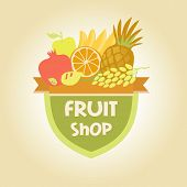 stock photo of fruit-juice  - Vector logo for a store of fruits - JPG