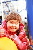 picture of playground  - Portrait of beautiful girl on the playground - JPG