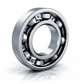 pic of bearings  - Steel shiny ball bearing isolated on white background with reflection effect - JPG