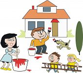 Family painting house cartoon