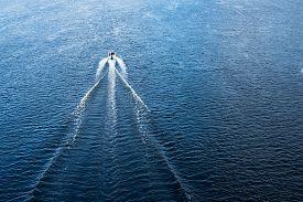 pic of sloop  - The motor boat floating in the blue Dnieper waters - JPG