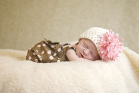picture of sleeping baby  - A sleeping three week old baby girl with soft focus  - JPG