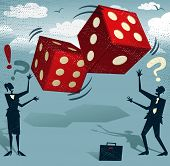 stock photo of dice  - Abstract Business People take the ultimate gamble on their business futures by playing with the Gambling Dice of Fortune - JPG