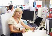 picture of lunch  - A working woman eating lunch using smart phone - JPG