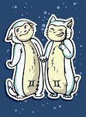 picture of gemini  - zodiac sign baby birth gemini vector illustration - JPG