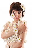 stock photo of allergies  - attractive woman with allergy as chrysanthemum flowers on body isolated on white background - JPG