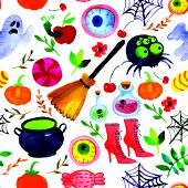 pic of scary  - Seamless watercolor background - JPG