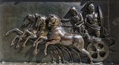 picture of chariot  - A panel on the front of the Achillion Palace on the island of Corfu - JPG