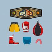 picture of boxing ring  - Set Boxing Icons - JPG