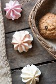 image of baked raisin cookies  - Cookies in a basket and marshmallows - JPG