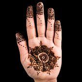 stock photo of henna tattoo  - Henna hand tattoo decoration art clipping path square - JPG