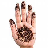 picture of henna tattoo  - Henna hand tattoo decoration art clipping path square - JPG