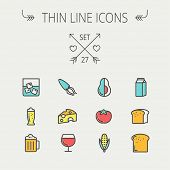 stock photo of flat-bread  - Food and drink thin line icon set for web and mobile - JPG