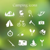 picture of lightning-rod  - Camping icon set vector - JPG