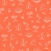 picture of flamingo  - Seamless vector sea pattern with sun boat island palm dolphin starfishsoft drinks shell and flamingo - JPG