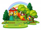 pic of playground  - Children playing in the playground outside - JPG