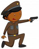 foto of grown up  - Close up policeman firing a gun - JPG