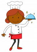 stock photo of grown up  - Close up female chef in uniform holding a tray of food - JPG