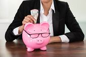 picture of insert  - Young Businesswoman Inserting Banknote In Piggybank At Desk - JPG