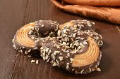 picture of shortbread  - Gourmet shortbread cookies dipped in chocolate and sprinkled with nuts - JPG