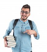 picture of nerd  - Boy nerd studying books for an exam - JPG